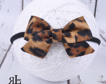 Leopard Bow - Folded Sailor Bow - Hair Bow - Sailor Headband - Clip
