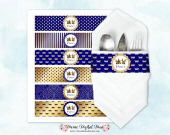 Napkin Wrappers Royal Blue & Gold   Prince Crown   Digital Instant Download