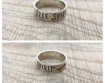 sterling silver ring,hand stamped, For Spirit, feather, personlalised, custom, made to measure, simple, plain, jewelery