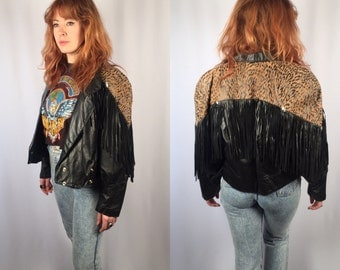 Vintage Black leather leopard fringe jacket Size Medium