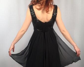 Vintage 60's black sequin and chiffon dress