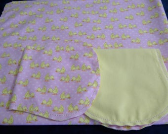 Yellow Duck with Yellow Backing Baby Burps and Baby Blanket ready for you to crochet by Linda's Hemstitching