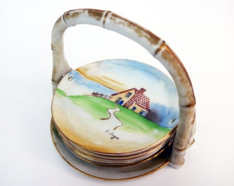 Vintage Coasters ARDALT Lenwile China Hand painted Stacking Dishes - 8 Piece Set Scenic Landscapes - Occupied Japan China Basket Coasters