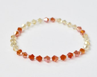 Swarovski Stretch Bracelet, Sparkly Jewelry, Orange Stackable Bracelet, Arm Candy, Boho Beaded Bracelet, Bridesmaid Gift, Gift for Her