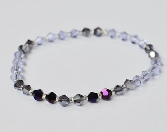 Swarovski Stretch Bracelet, Sparkly Jewelry, Purple Stackable Bracelet, Arm Candy, Boho Beaded Bracelet, Bridesmaid Gift, Gift for Her
