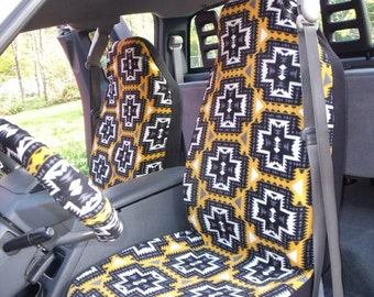 1 Set of Black/Yellow Aztec Print, Car Seat Covers and  steering wheel cover custom made.
