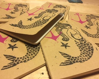 Hand printed moleskin notebook