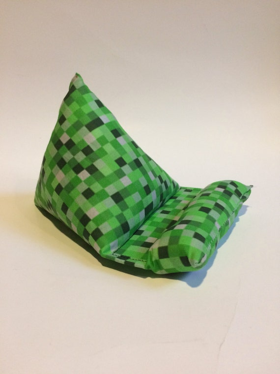 Cell Phone Stand, Green 8-bit fabric electronics stand, cell phone stand, tablet stand, iPad stand