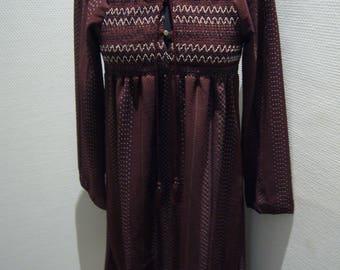 Burgundy Cotton Hippie Dress.
