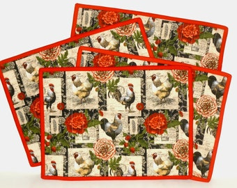 Red Rooster Placemat set of 4, Farm Rooster Cotton Quilted Placemats, Machine Washable Absorbent Table Place Mats, Country kitchen decor
