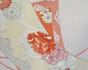 "SILK BOLT KIMONO Fabric Vintage Japanese Silk Kimono Fabric Scrolls Embroider Peony Plum Maple Vintage Silk Homongi Kimono Fabric 14""W 13 Yd"