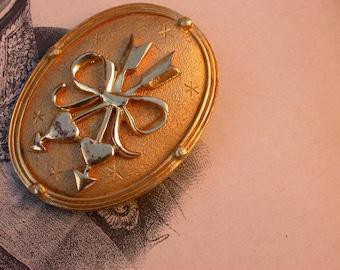 vintage Large good brooch Signed JJ numbered mated gold twin heart  arrow stars vintage gold solid bronze gold vermeil brooch