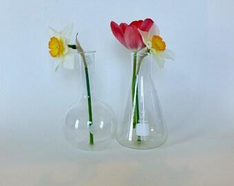 Pair of Vintage Lab Bottles/ Pyrex Long Neck Flask/ Bomex Beaker