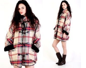 Vintage Plaid Coat / Pia Rucci / Oversized Coat / Shearling Coat / Colorblock Coat / Wool Coat / Women Coat One Size