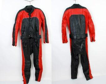 80s Motorcycle Suit / Racer Suit / Speed Racer Suit / Colorblock Moto Suit / Protection Moto Suit / Two Pieces Suit Size M