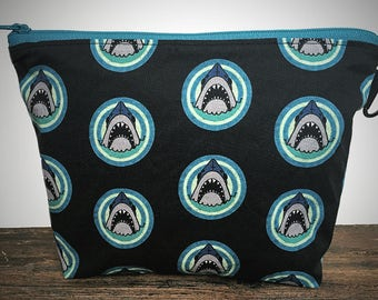 Cotton Shark Print Fabric Cosmetic Bag with Zipper