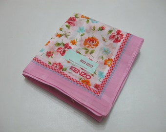 KENZO Pink Border with White Floral Pattern Handkerchief