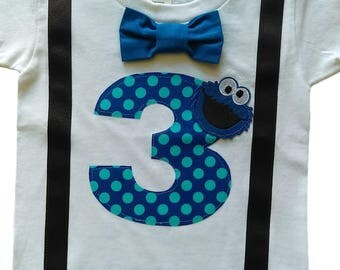3rd Birthday Shirt Boys Cookie Monster Tee