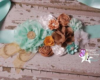 Mint Aqua Gold White Sash, Wedding Sash, Maternity Sash, Gender Neutral Sash, Maternity Belt - SBS-014