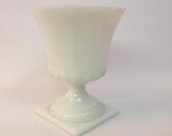 Early EO Brody Greek Key Milk Glass Footed Vase