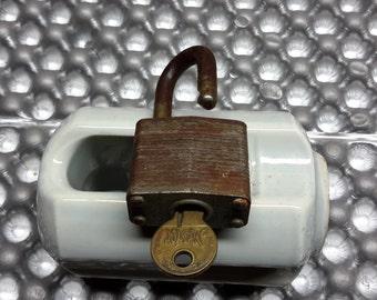 Vintage Master number 3 Padlock with working key