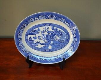 Blue Willow Oval Serving Platter Homer Laughlin Blue Willow China Platter  I Ship Worldwide