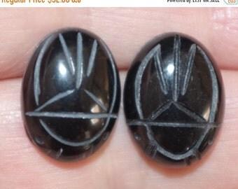 Gorgeous Vintage 14k Gold Filled Black Onyx Scarab 16MM Large Oval Stud Earrings
