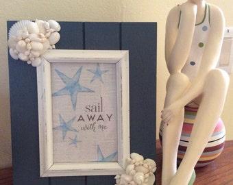 Coastal Blue and White Seashell Frame-Ready to Ship
