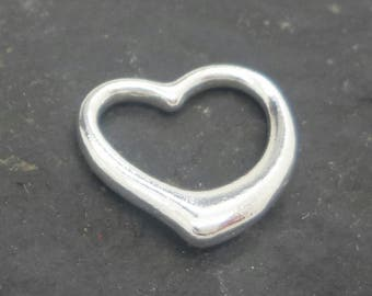 Hollow Sterling silver HEART charm empty silver heart pendant solid sterling silver 925 heart outline pendant