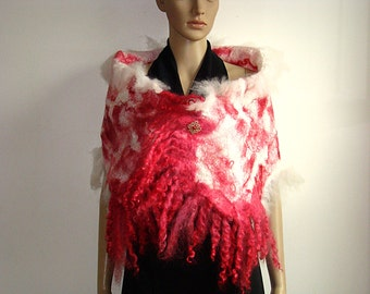 Ruby Red White Alpaca Wool Silk Shawl Wool Felted Scarf Nuno Felted shawl furry scarf ART Accessories Christmas gift Love Gift