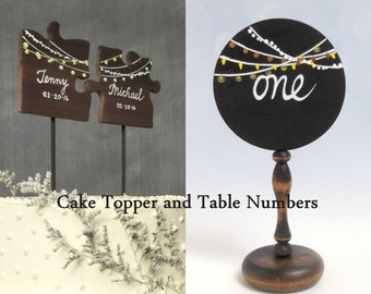 Wedding Set, Fairy Lights Cake Topper and Matching Table Numbers, String Lights Cake Topper, Guest Table Numbers in Dark Walnut