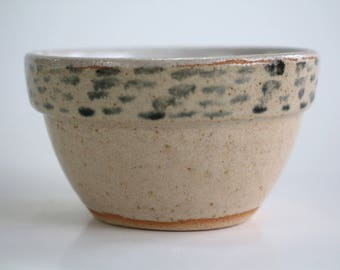 ceramic bowl sand and white, black pattern, handmade