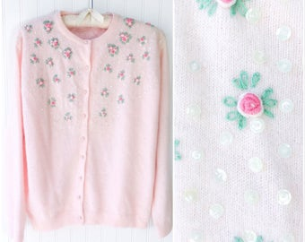 baby pale pink angora cardigan / embroidered 3D roses / sequins and beads / vtg 50s pink sweater pinup top