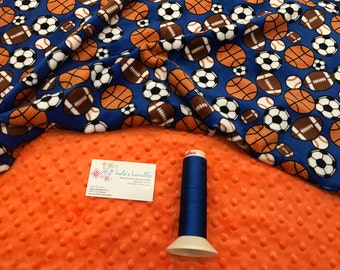 Sport ball Double sided Minky Baby Blanket
