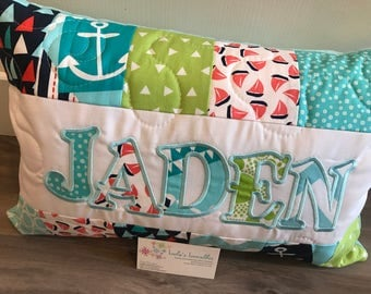 Sailboats Beach pillow, nautical, personalized 12x18 inches