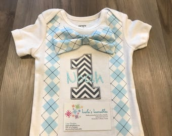 Argyle Faux Bow Tie and suspenders first birthday shirt