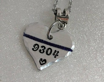 Police Memorial Jewelry, Blue Line Jewelry, Police Wife Jewelry, Personalized, Police Badge Number, Handmade, Hand Stamped, Love, Support