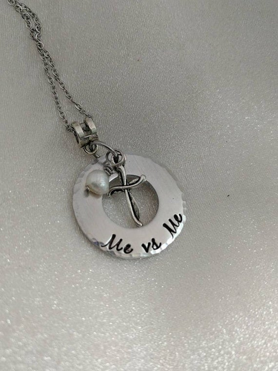 Me Vs Me Necklace - Ready to Ship - Statement Jewelry - Inspirational Necklace - Hand Stamped Jewelry - Motivational Jewelry - Gift for Her