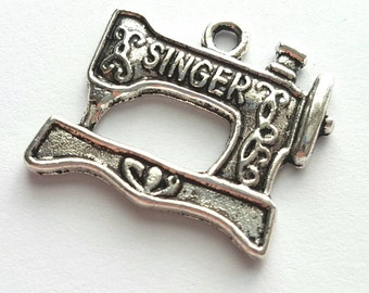 Five Sewing Machine Charms - sewing - craft - seamstress - Singer - Tibetan Silver