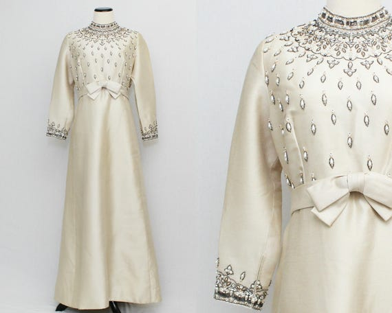 60s Beaded Party Gown - Size Large Vintage 1960s Beige Beaded Hostess Dress