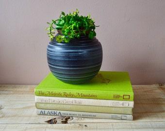 RESERVED FOR LIZ - Round Black Planter, Indoor Flower Pot, Vintage Studio Pottery