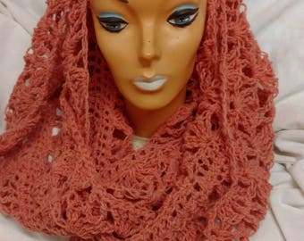 Dramatic springy Peach colored Infinity scarf crocheted