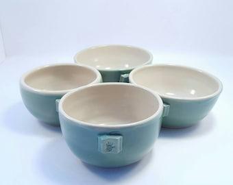 Handmade pottery Ceramic Ice Cream Bowls -set of 2 bowls handmade ceramic pottery soup bowl in clay with green glaze.