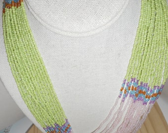 Light Green and Pink Tribal Beaded Necklace/Statement Necklace//African Motif Necklace/Hand Beaded Necklace,See All Pics. 36 INCHES