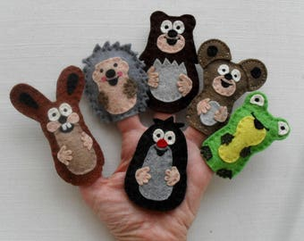 Animal finger puppets: The Little Mole and his friends, Felt animals, Felt puppets