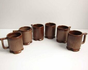Vintage Frankoma Pottery C1 Demitasse Coffee Cups / Set of 6