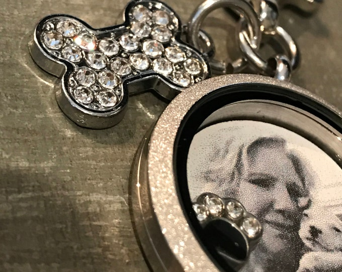 Rainbow bridge pet loss Memorial floating picture locket Keychain