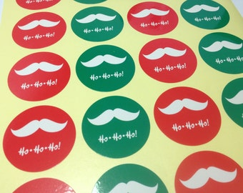 Set of 60, 120, 180 Stickers - Ho Ho Ho Moustache Green & Red Stickers - Christmas, Merry Christmas, Gift Wrapping, Envelope Seals