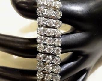 Vintage  Made in Japan Diagonal Two Row Rhinestone Expansion Bracelet
