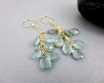 Moss Aquamarine Chakra Earrings - Wire Wrapped Briolettes - Gold Fill -  March Birthstone Dangles - Throat Chakra Healing Crystals